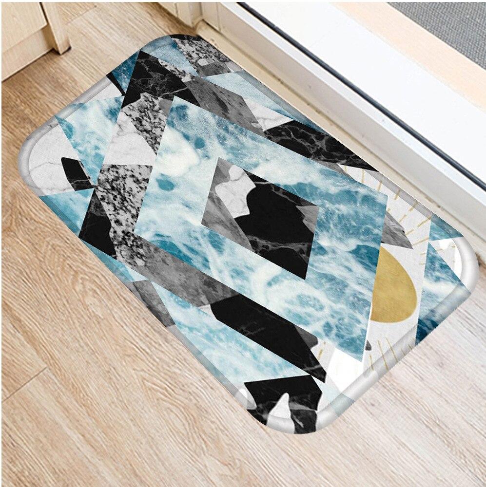 Image 2 - 40 * 60cm Geometric Marble Floor Mat Non slip Suede Carpet Door  Mat Kitchen Living Room Floor Mat Bedroom Decorative Floor Mat .Rug