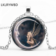 LKLRYWBD / Vintage Moon Angel Necklace Round Pendant Best Gift