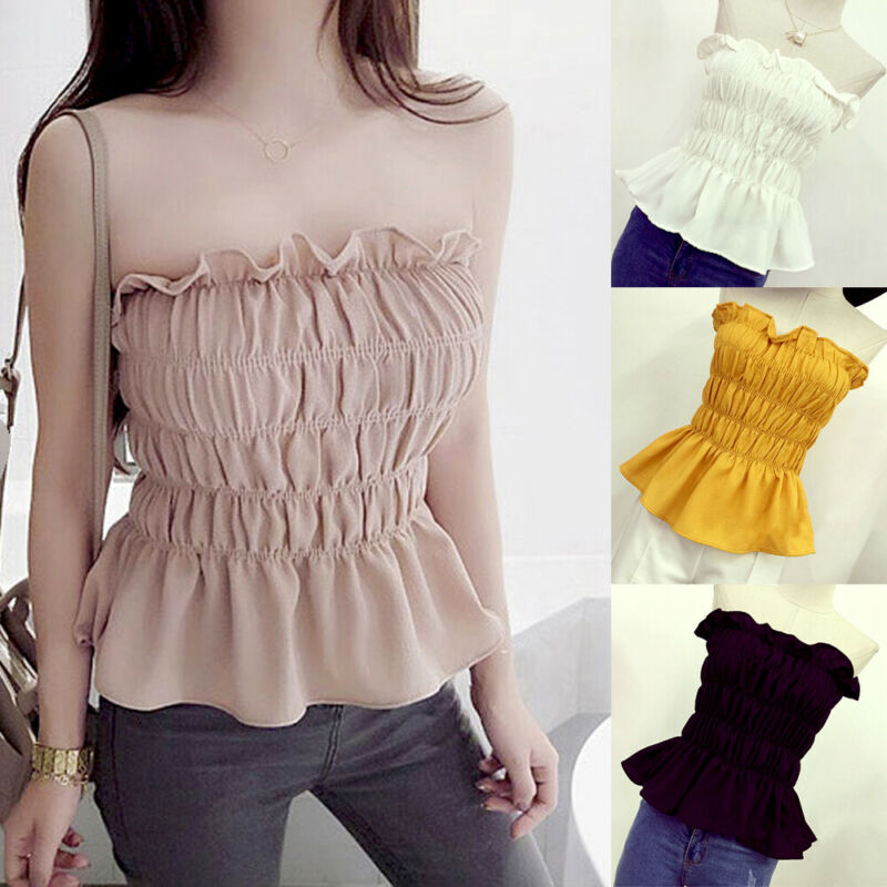 2020 Fashion Trend Women Summer Stretch Strapless Bandeau Vest Ladies Solid Summer Casual Sleeveless Crop Tops Tank Sun-tops