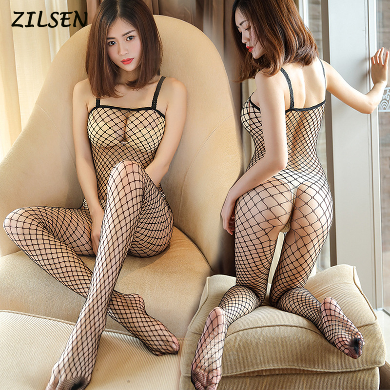 2019 New Sexy Fishnet Bodustocking Hot Sexy Lingerie 6 Colors Bodysuit For Women Open Crotch Tights Shoulder Strap Pantyhose
