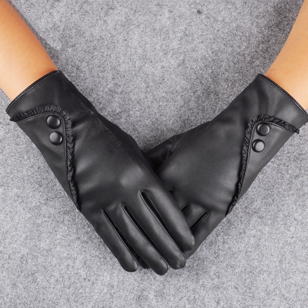 Women's Leather Gloves Winter Warm Plus Velvet Short Thin Touch Screen Driving Female Black Leather Gloves New High-end 2021