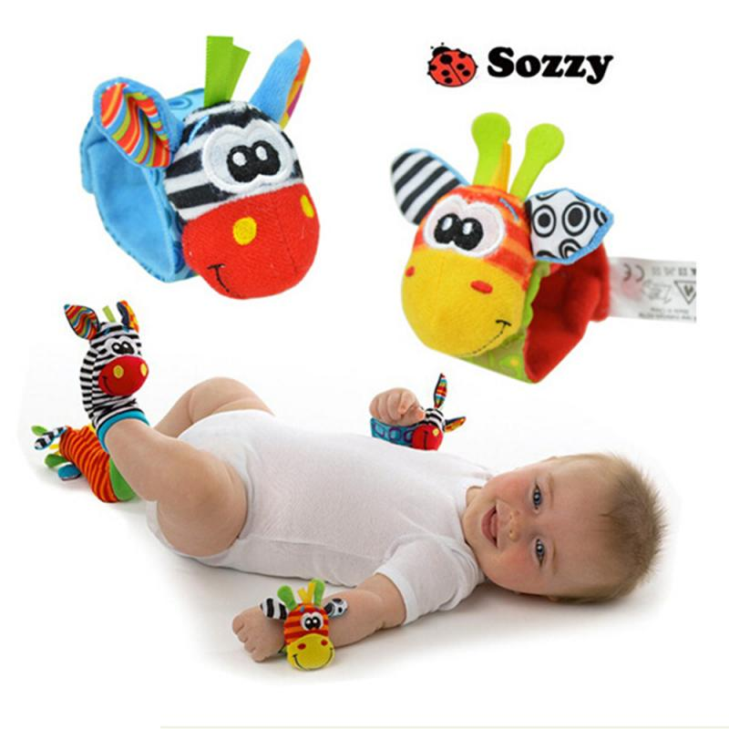 1pc Soft Cartoon Animal Infant Baby Rattles Toys Random Color Baby Kids Socks Plush Rattle Wrist Toys Infant Newborn Soft Toys