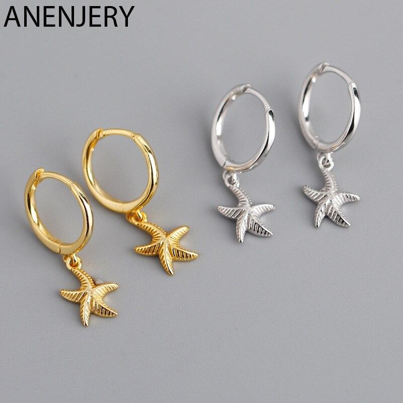 ANENJERY 925 en argent Sterling étoile de mer cerceau boucle d'oreille pour les femmes géométrique or argent bijoux en gros S-E1388