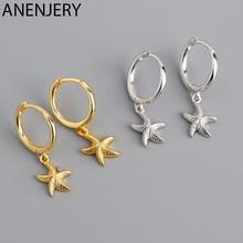 ANENJERY 925 Sterling Silber Seestern Hoop Ohrring für Frauen Geometrische Gold Silber Schmuck Großhandel S-E1388