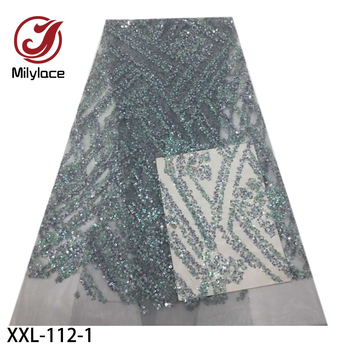 Luxury Colorful Sequins Lace French Tulle Mesh Lace Fabrics High Quality Sequins Lace Materials for Wedding Party Dress XXL-112