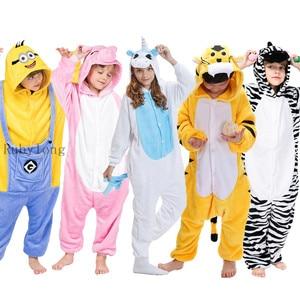 Kigurumi Unicorn Onesies Kids Winter Onesies Boys Sleepwear Girls Pajama Set Stitch Skeleton Animal Pajamas Children Bat Onesies