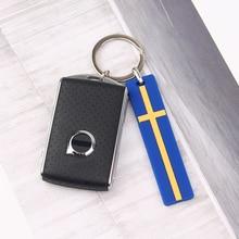 Car Key Chain Ring For Volvo XC90 S60 XC60 V70 S80 S40 V40 V50 V60 XC70 C30 FH XC40 S90 C70 V90 Rdesign S70 Sweden Flag Keychain