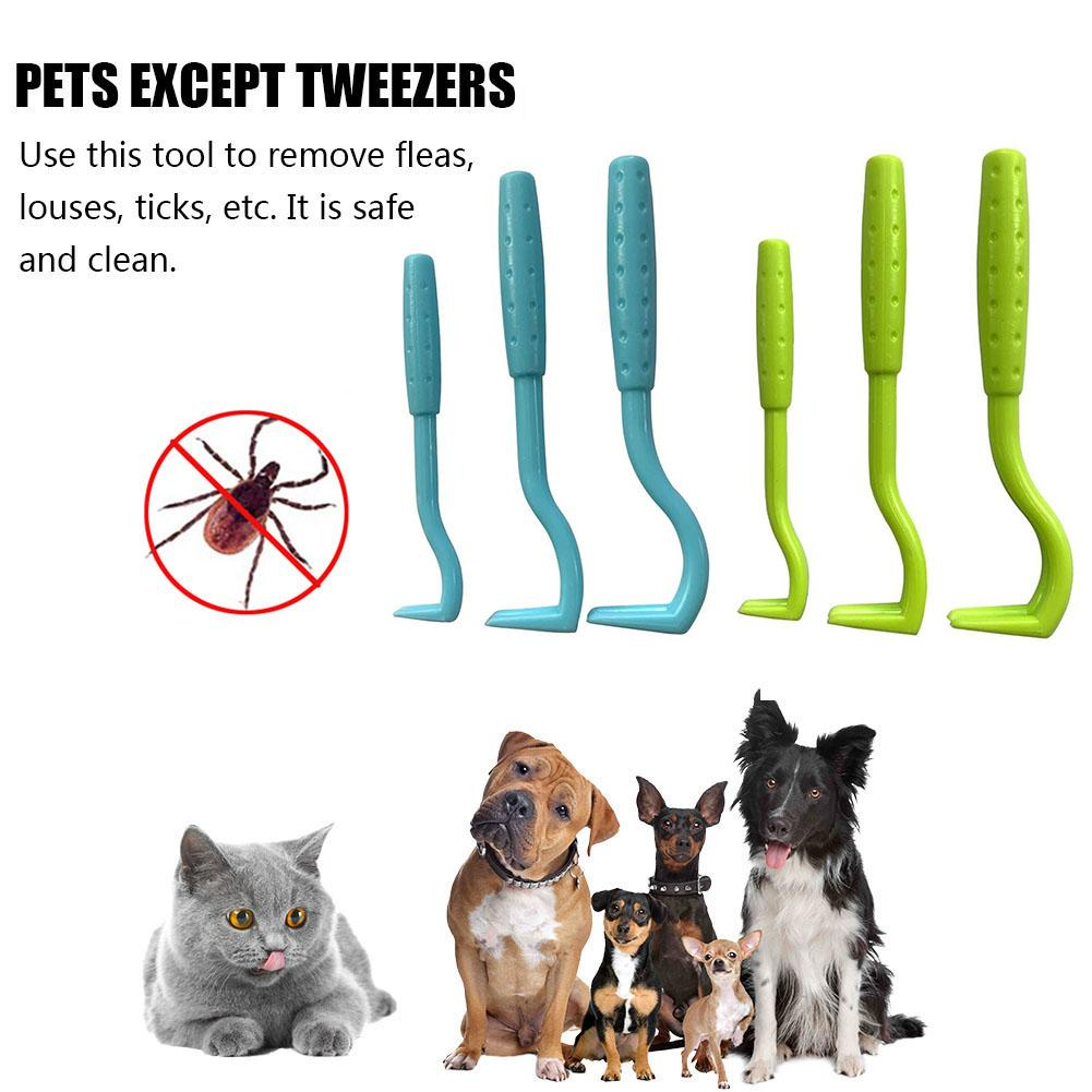 3PCS Pet Flea Remover Tool Scratching Hook Remover Pet Cat Dog Grooming Supplies Lice Tick Twister Remover Clips Pet Comb