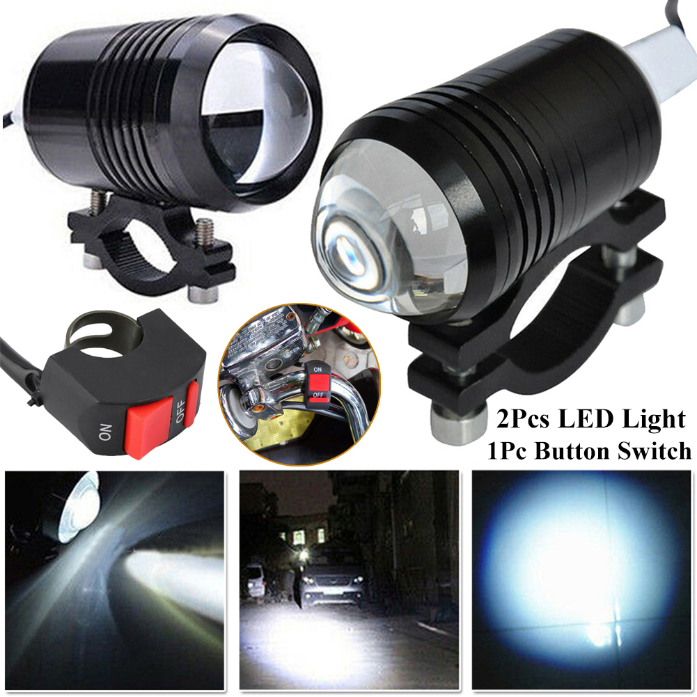 2pcs Bright Motorcycle Fog Lights LED Headlight Driving Spot Work Lamp + Switch