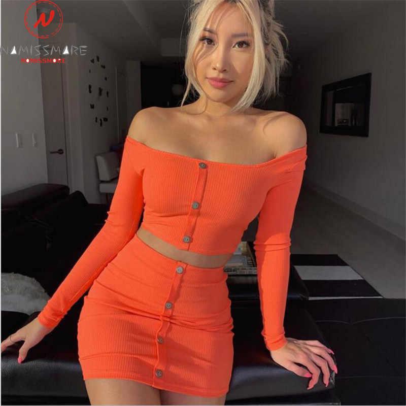Ropa de calle conjuntos de 2 piezas para mujer botón decoración Slash cuello manga larga sólido corto + caderas elásticas faldas señora conjuntos delgados