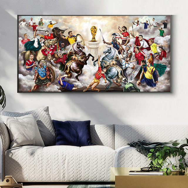 Abstract Football War Painting Printed on Canvas 3