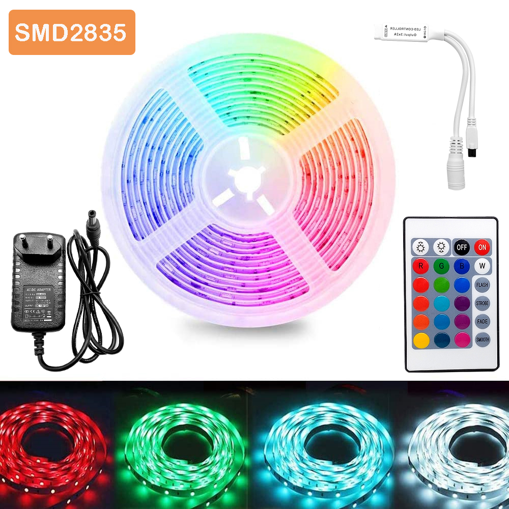 5m 300Leds Non-waterproof RGB Led Strip Light 2835 DC12V 60Leds M 2835 Flexible Lighting Ribbon Tape  24Key 44Key IR Controller