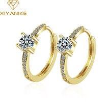 XIYANIKE – grandes boucles d'oreilles brillantes en argent Sterling 925, bague personnalisée incrustée de Zirconium et de diamant, bijoux d'oreille pour femmes