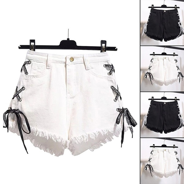 GAOKE Sexy Summer Women Denim Shorts 2021 New Black High Waist Ripped Short Jeans Femmen Side Lace Up Bandage Shorts New 1