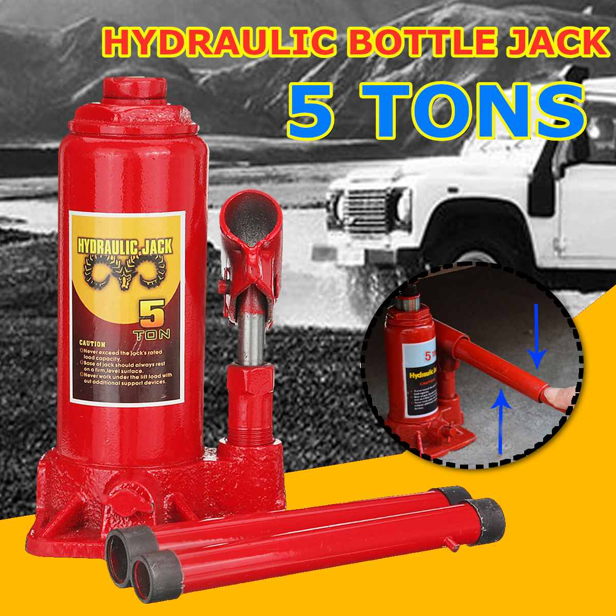 5 Ton Air & Manual Car Hydraulic Bottle Lifting Jack Automotive Car Lifting-Jack For Truck SUV 4WD Caravan Tractor Tool