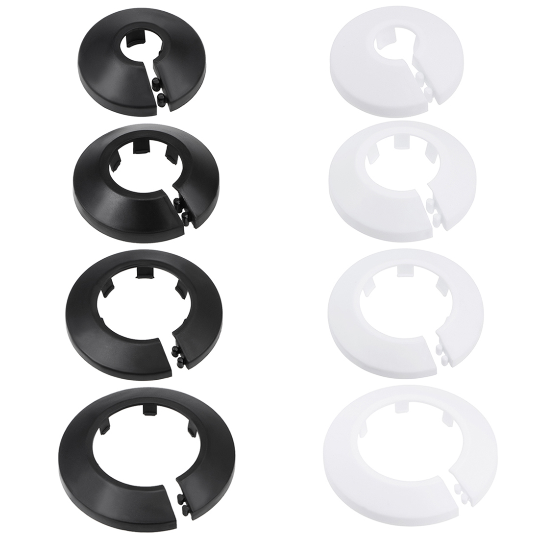 Uxcell 4Pcs Pipe Collar 13/17/21/25/33/35/41.5/44/50/64/75/90mm PP Radiator Escutcheon Pipe Cover Decoration White/Black