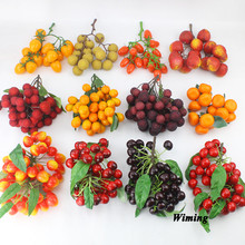 Simulation Fruit bunches Artificial fake orange cherry waxberry tomato litchi longan strawberry model for party Decor fruit prop