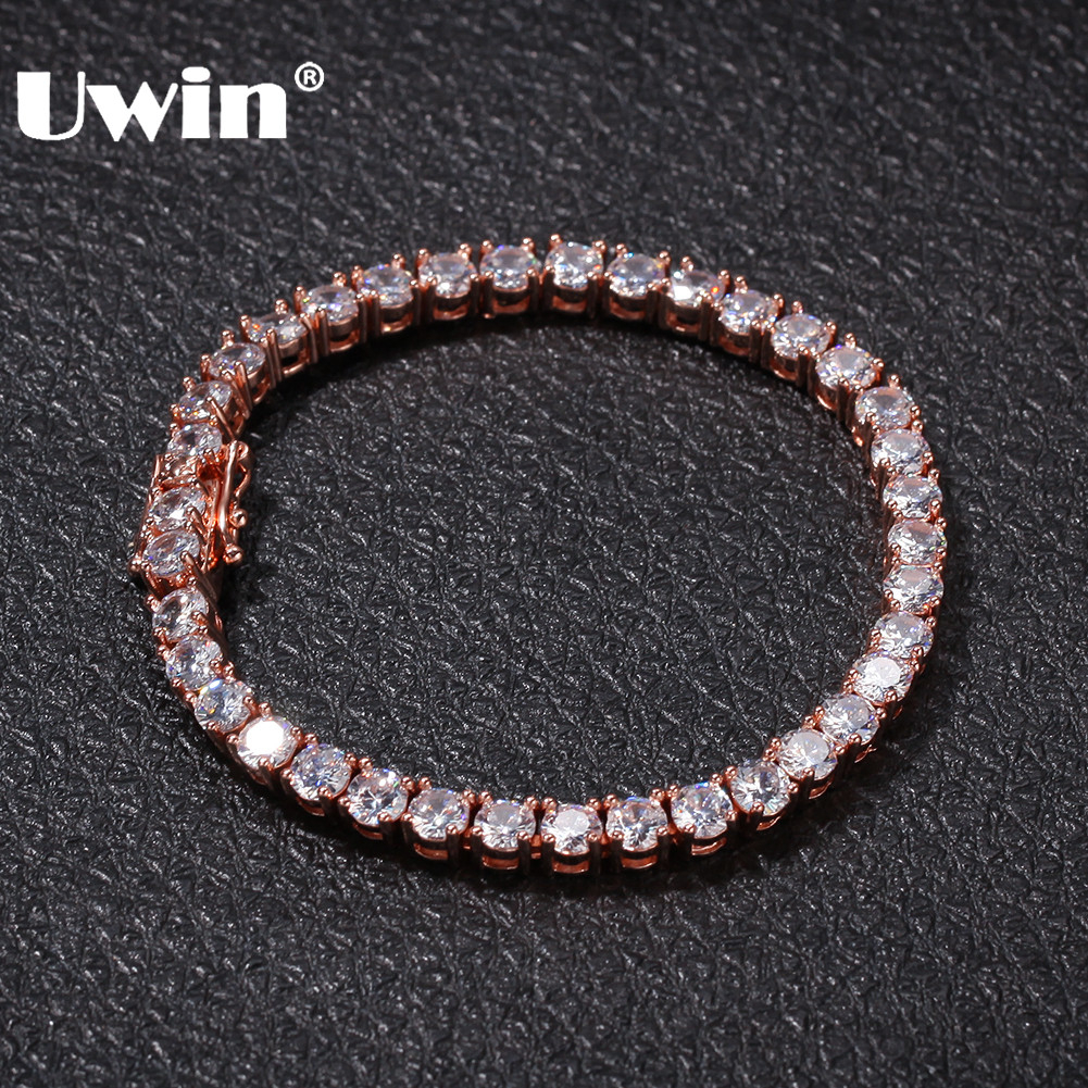 UWIN 5mm Iced Out Round Cut Tennis Bracelet Hiphop Jewelry 1 Row Cubic Zirconia CZ Men Charm Bracelets