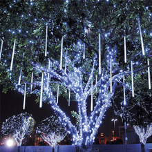 8 unidades/juego de tubos de lluvia de 30 50cm de lluvia de meteoritos de colores, cadena de luces LED blanca cálida para jardín, árbol, boda, fiesta, decoración de vacaciones