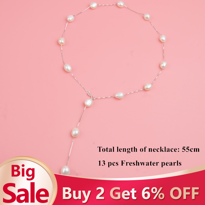 ASHIQI Real Pure 925 Sterling Silver Chain Pendant Necklace For Women 9 10mm White Gray Natural ASHIQI Real Pure 925 Sterling Silver Chain Pendant Necklace For Women 9-10mm White Gray Natural Freshwater Baroque Pearl Jewelry