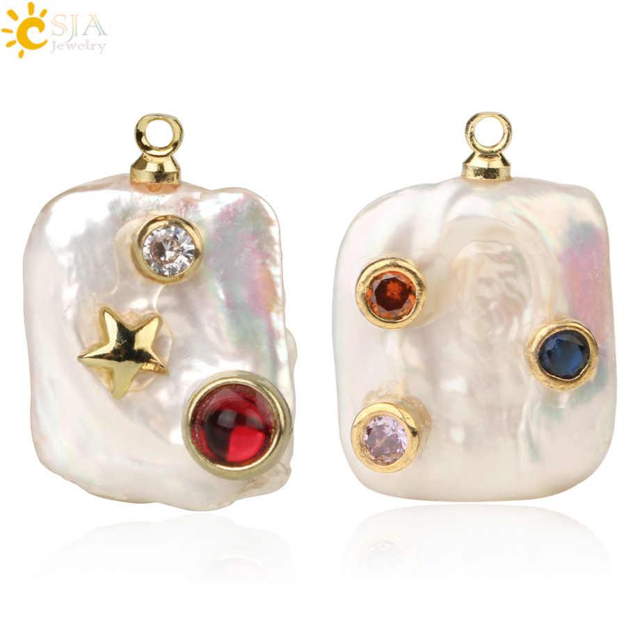 CSJA 淡水真珠正方形不規則なアクセサリーラインストーンゴールデンチャームネックレスブレスレットイヤリング G248