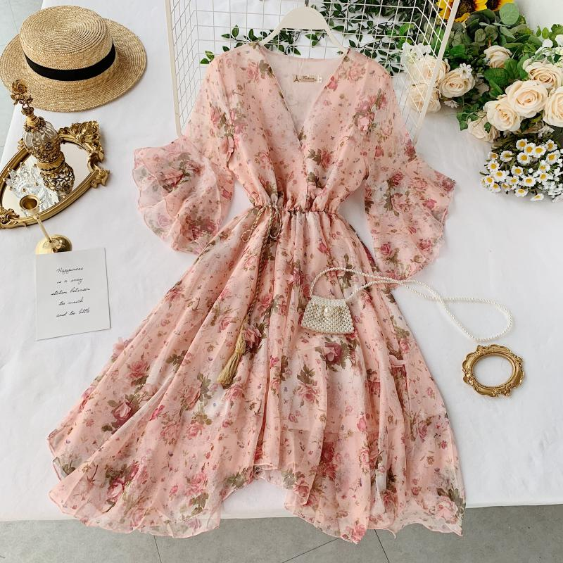 2019 New Fashion Women's Dresses Holiday Summer Flare Sleeve Tie Irregular Floral Chiffon