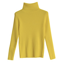 Free Size M New Autumn and Winter Pullovers Women Sweater Clothing Yellow Woman Turtleneck 2019 Fall Long Sleeve Solid