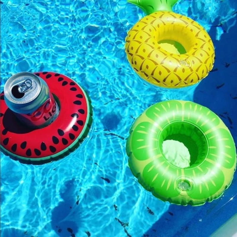 24 Styles Mini Inflatable Shape Water Swimming Pool Drink Cup Stand Holder Float Toy Coasters For Water Beverage Beer Bottle