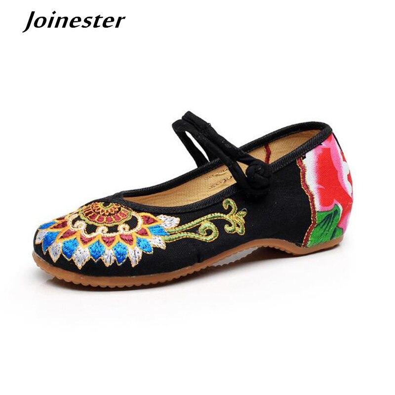 Цветочной вышивкой для женщин Классическая парусиновая обувь с ремешками на