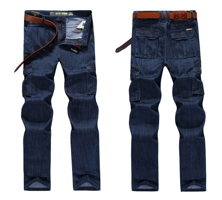 2019 Men Jean Big Size  High Quality Pants Homme Casual Military Multi-pocket Jeans Male Clothes Streetwear Casual Trousers 2019