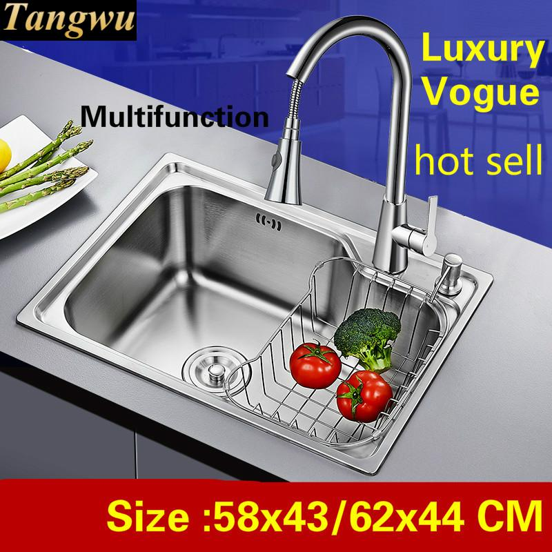Free Shipping Home High Quality Kitchen Single Trough Sink Luxurious Wash Vegetables 304 Stainless Steel Hot Sell 58x43/62x44 CM