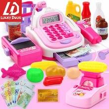 Brinquedo da caixa registadora do supermercado para crianças, jogo do caixa fingir jogar brinquedos para crianças meninas aprendizagem e educação