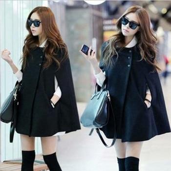 Abrigos de Poncho de capa negra para mujer Otoño Invierno botones prendas de vestir exteriores para oficina para mujer Ponchos de Chal holgados de moda cálidos abrigos medianos largos