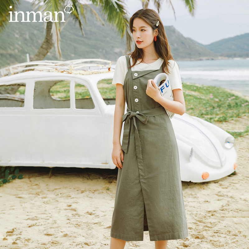 INMAN 2020 Summer New Arrival Bowknot Nipped Waist Sweet Leisure T-shirtSuspender Two-piece