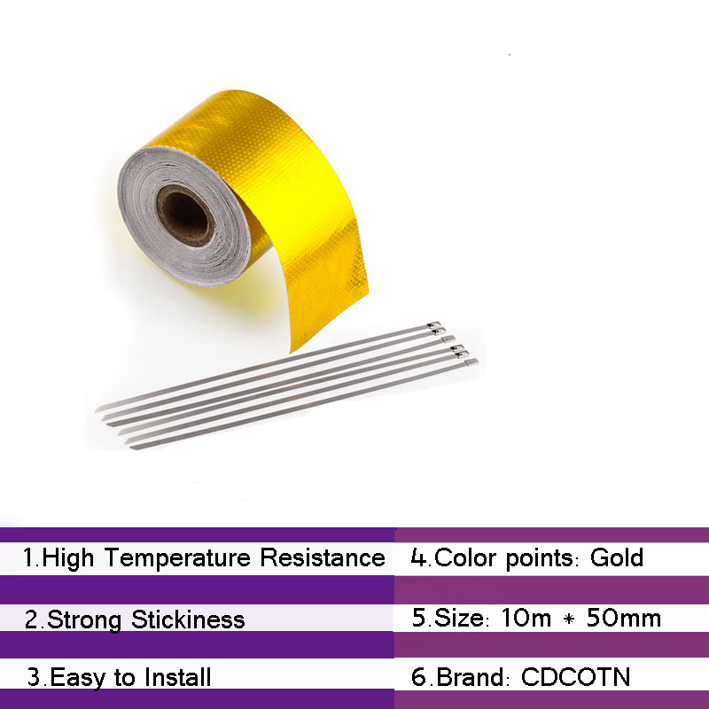 Automotive Exhaust Pipe Decorative Aluminum Foil Thermal Insulation Tape 1 roll