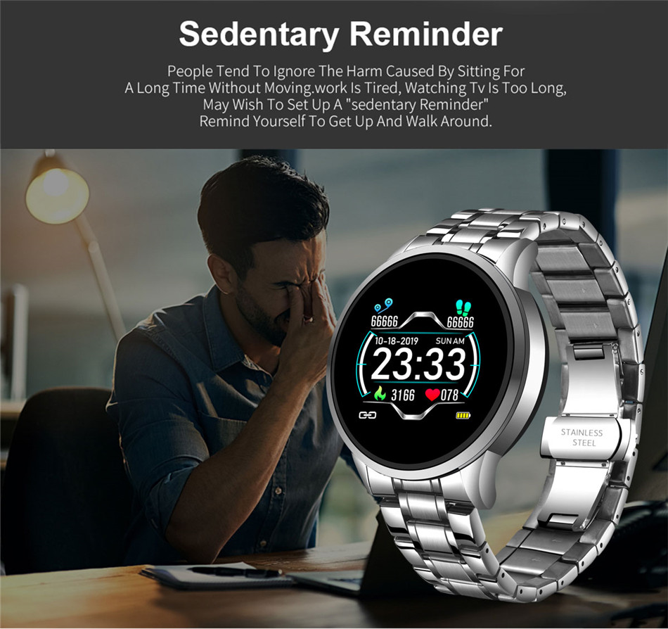 H5136b6bfe20a479b9d1452076564fb34Z LIGE 2020 New Smart Watch Men Heart Rate Blood Pressure Information Reminder Sport Waterproof Smart Watch for Android IOS Phone
