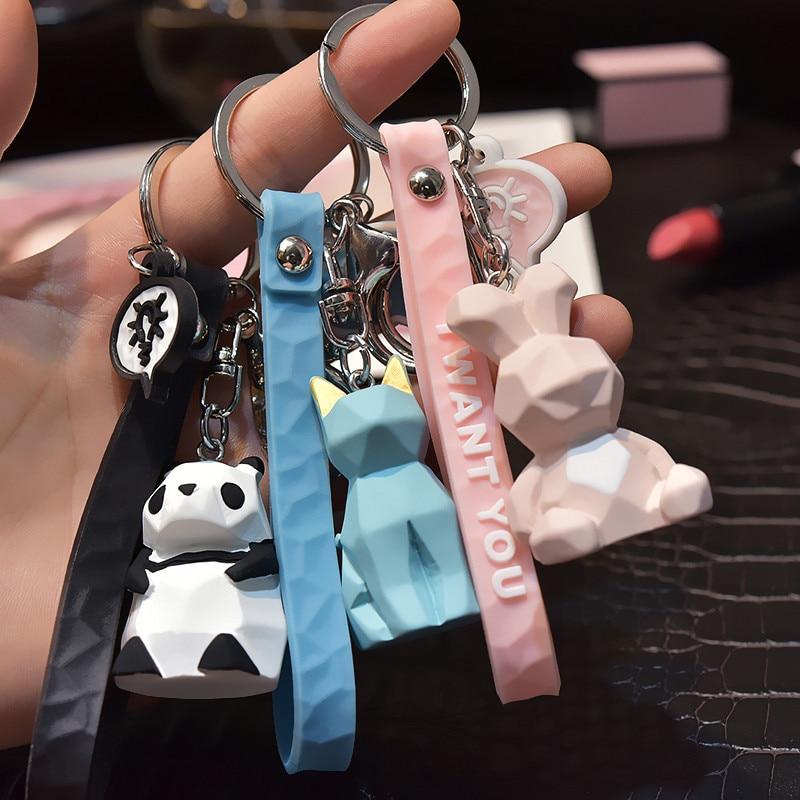 New Fashion Stereo Cute Dinosaur Keychain Key Ring Panda Koala Fox Multiple Animal Keychain Cartoon Mobile Phone Bag Fun Pendant