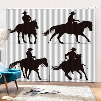Curtains Decoration European 3D Curtains For Living Room Blackout Black and white background animal riding Decoration Curtains