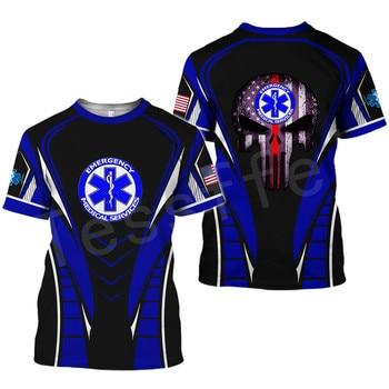 Tessffel Emergency Medical Service Technician EMT EMS Paramedic Hero New Fashion Unisex Casual 3DPrint Short Sleeve T-Shirts s-2 2