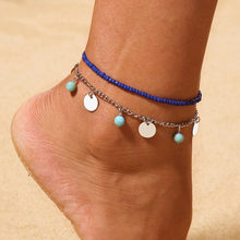 Double Chain Anklet Jewelry Beach Section Anklets Beads Boho Foot Gothic Bohem Foot Jewelry Leg New Anklets Ankle #4A28(China)