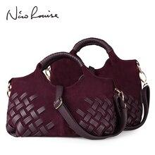 Женская плетеная Замшевая сумка из спилка, повседневная женская сумка через плечо, сумка мессенджер с ручками сверху