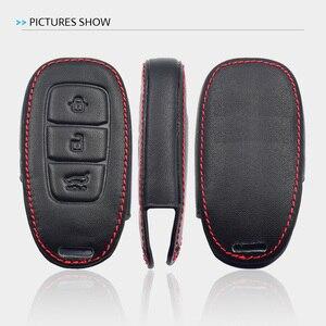 Image 5 - Leather Car Key Case For Hyundai Santa Fe TM 2019 I30 2018 Solaris Azera Elantra Grandeur Accent Keychain Holder Protector Cover