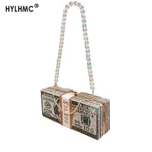 Luxury Fahsion crystal Money USD bags Women Dollar Design sh