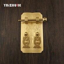 1 пара Античная китайская дверная ручка из чистой меди прямой CupboardHandle аппаратные мебельные ручки