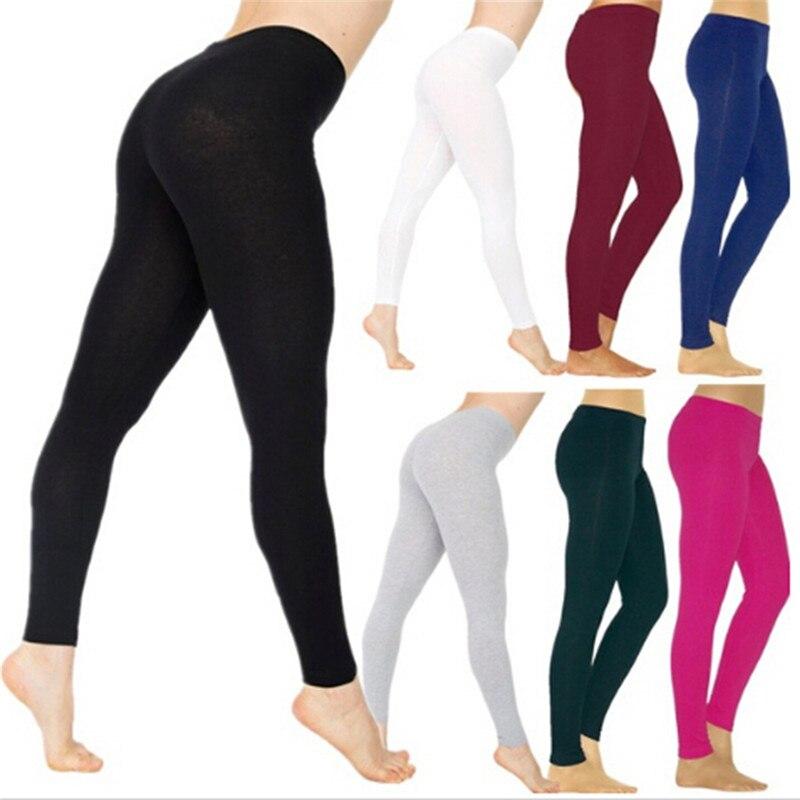 Mallas de algodón para mujer, Leggings elásticos, deportivos, informales, Color liso ajustada, blanco, negro y gris