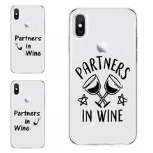 wine Partners BFF print Case For iPhone X Cover Case For iPhone 11 Pro MAX XR XS Max XS 7 Plus 8 Case TPU Soft best friend leaf print iphone case