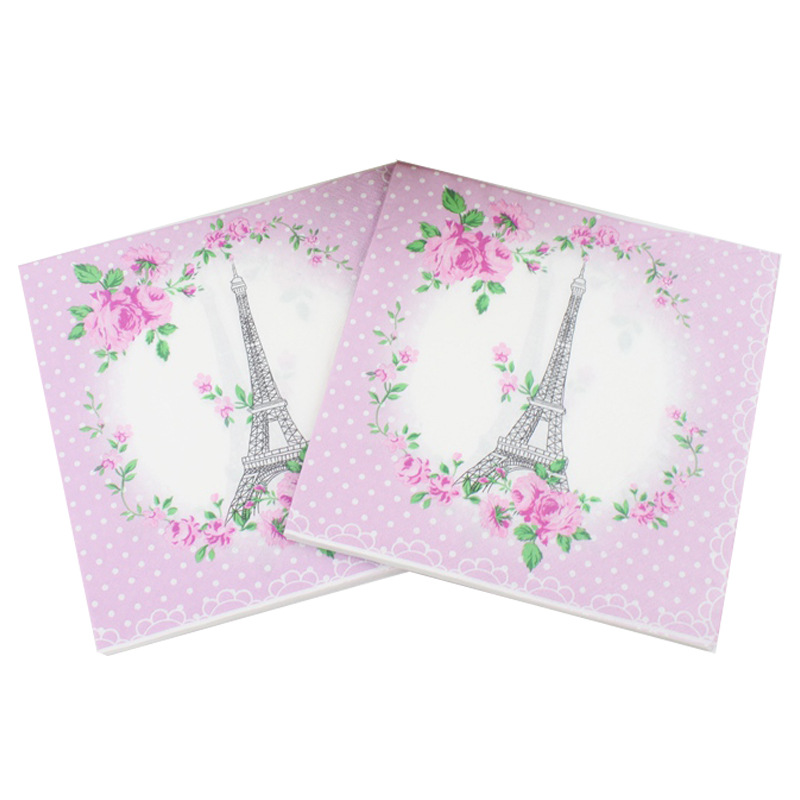[] Multi-color Printed Napkin Eiffel Tower Creative Tissue Kleenex Hot Selling
