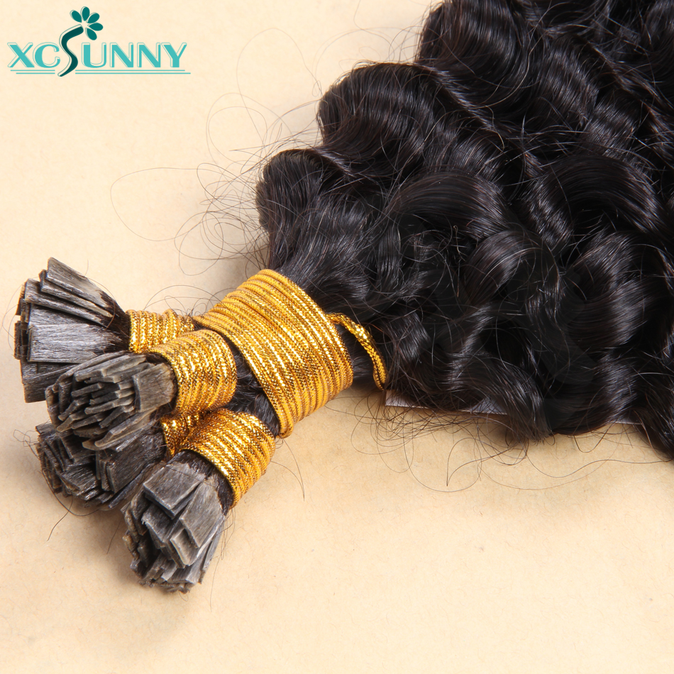 Flat Tip Hair Extensions Curly Remy Brazilian Human Hair Extensions For Black Women 0.95g/strand 14
