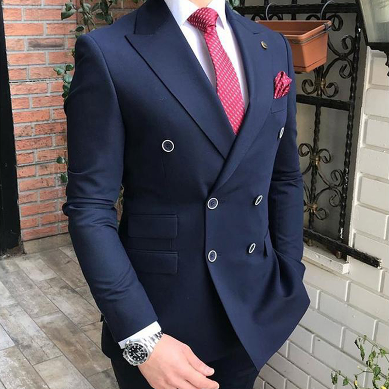 wedding : Double Breasted Slim fit Men Suits for Groomsmen 2 piece Wedding Tuxedo with Peaked Lapel Gray Man Fashion Costume Jacket Pants