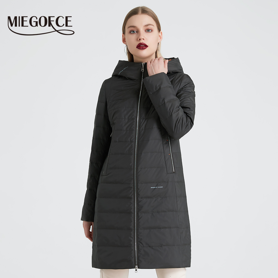 MIEGOFCE 2019 Spring And Autumn Women's Coat Cotton Windproof Hat Women Windbreaker Fashion Thin Section Female Coat New Design